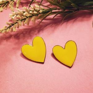 Yellow Heart Stud Earrings 💛